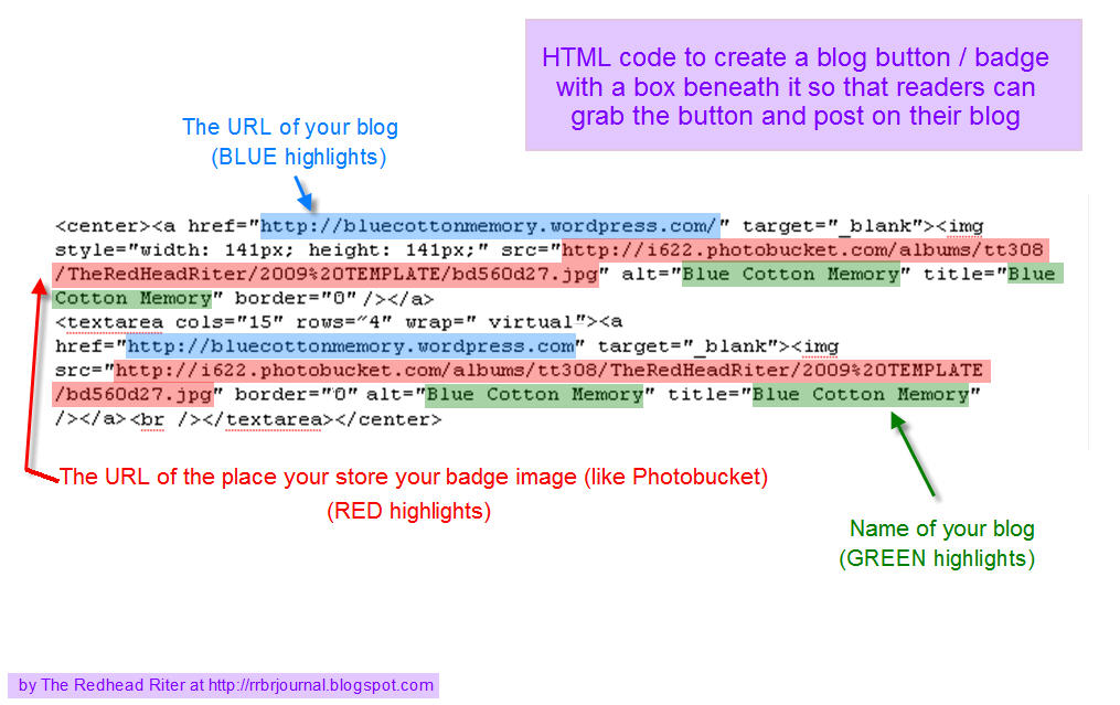 HTML code to create blog badge or button