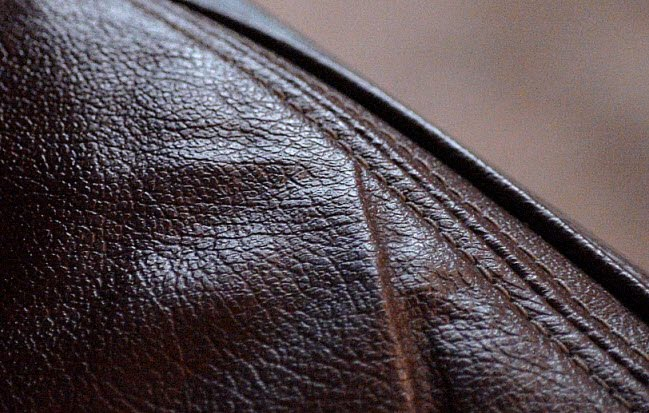 stitches in the leather chair