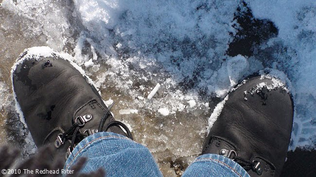 The Redhead Riter's Timberland boots in the snow