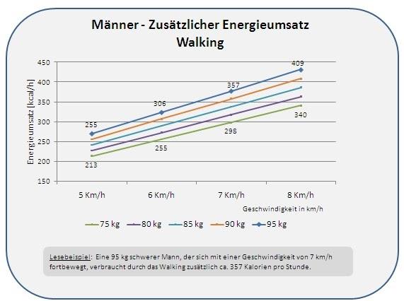 energieumsatz ausdauersport walking energieumsatz kalorienverbrauch bei m nnern in. Black Bedroom Furniture Sets. Home Design Ideas