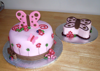 Butterfly Birthday Cake on Pink Butterfly Cake With Smash Cake   Another One Done To Match An One