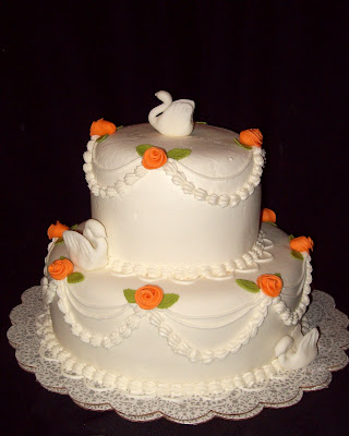 Layers of Love 40th Anniversary Swan Cake