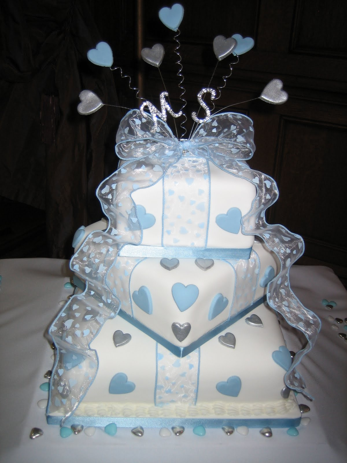 Sarah T Cakes Blue and silver love heart 3 tier wedding cake