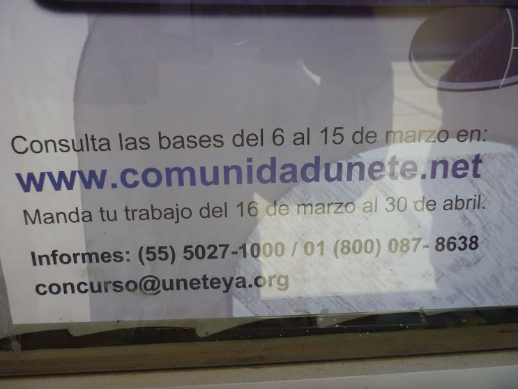 LETREROS INFORMATIVOS DE LA COMUNIDAD UNETE EN LOS PASILLOS SALONES COOPERATIVA ESCOLAR ETC.