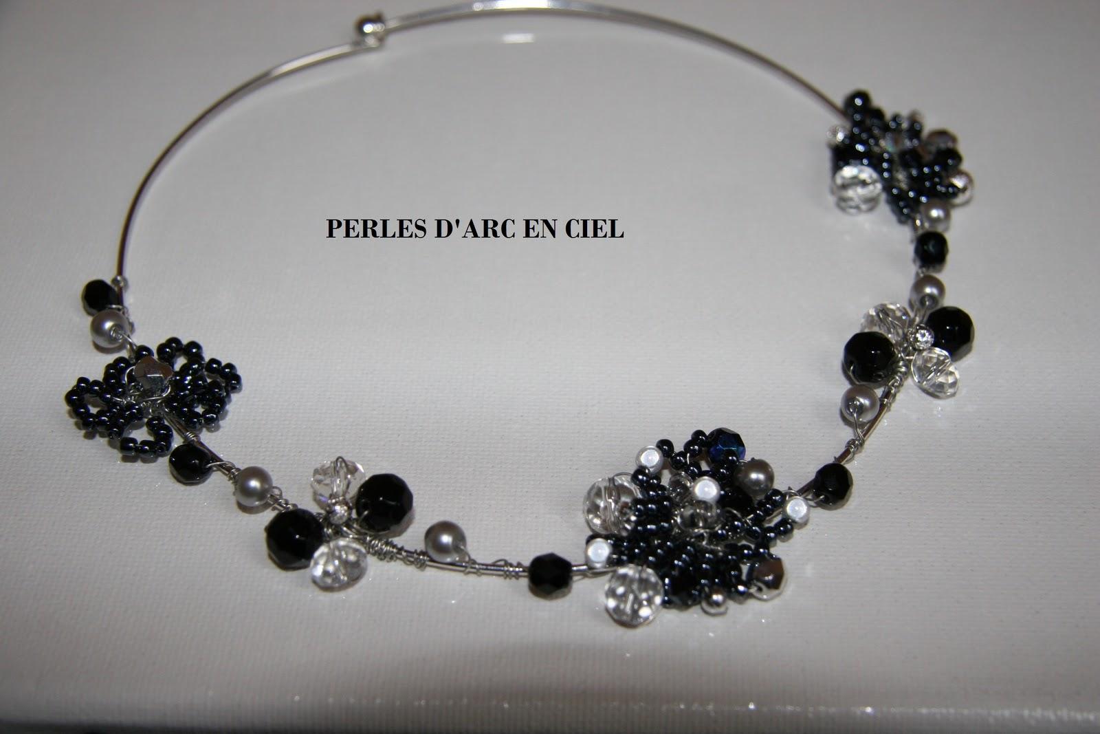 Perles d 39 arc en ciel tour du cou romantique noir et blanc - Photo romantique noir et blanc ...