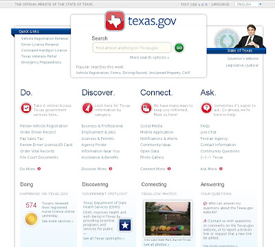 texas website home page