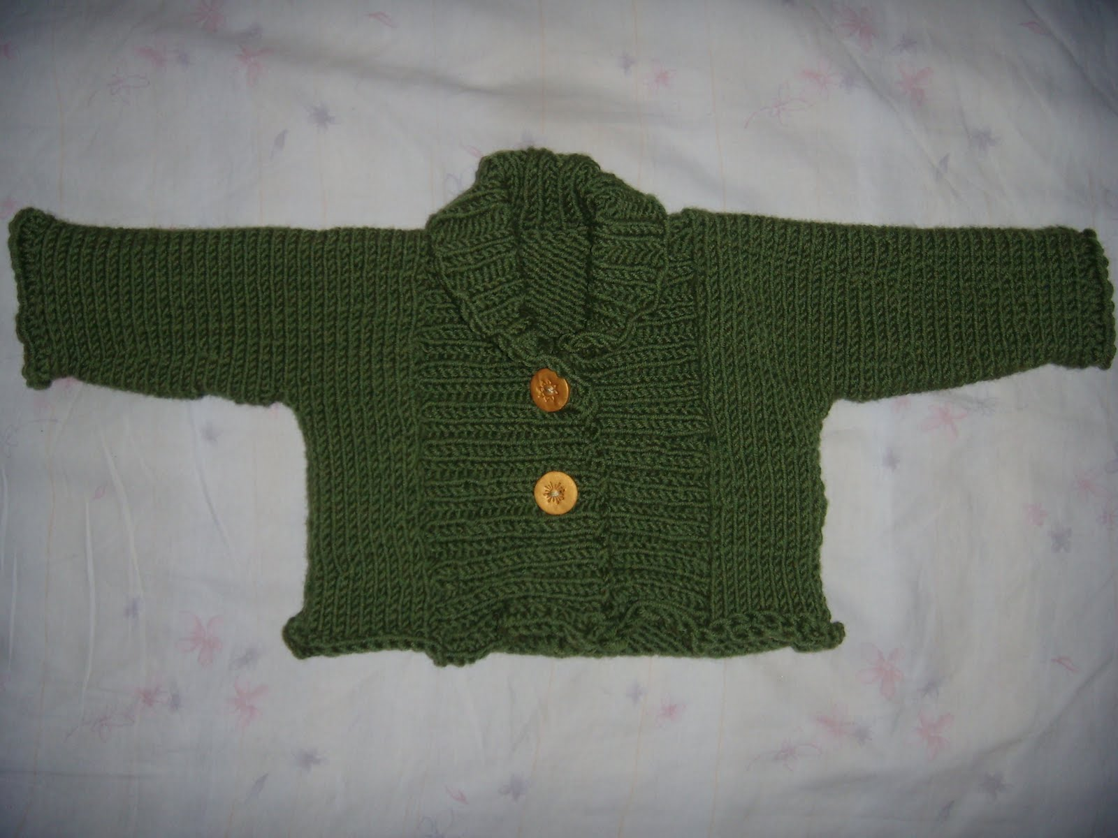 Life as an Outlier: FO--Ribbed Baby Jacket (by Debbie Bliss)