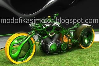 Modifikasi Motor Vespa Chopper Green Style Concept title=