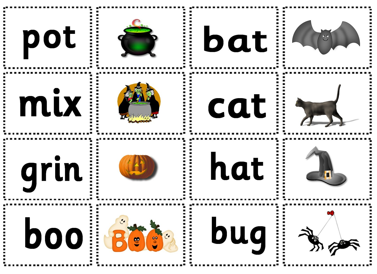 letters and sounds halloween match it game