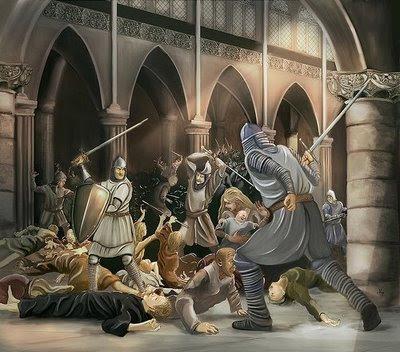 Cátaros sendo massacrados pelos cavaleiros da Inquisição