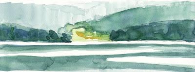 Lac du Bouchet aquarelle paysage landscape Haute-Loire