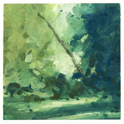 Summer End, gouache, landscape, musique, paysage, paysage d'arbres, WetCanvas