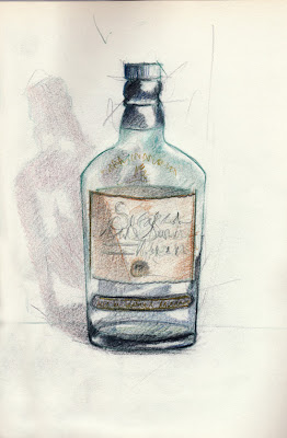 Avec modération, whisky Singleton, colored pencils, crayons de couleur, nature morte, sketch, still life, croquis