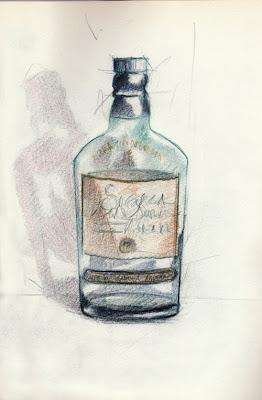 Avec modération, whisky Singleton, colored pencils, crayons de couleur, nature morte, sketch, still life, croquis