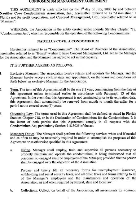Nautilus Cove Condominium Old Concord Management Agreement