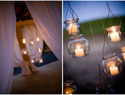 Weddings the joys and jitters tea lights and lanterns for Hanging votive candles