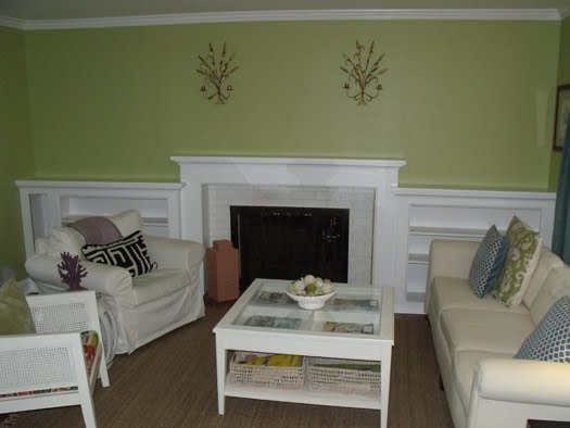 I'm so thrilled - our fireplace mantel and bookcases are complete and they