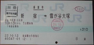 新宿→雪が谷大塚間の金額入力発売乗車券