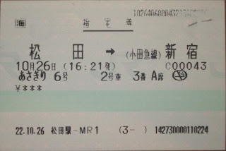 小田急電鉄 JR東海松田駅発行硬券特急券