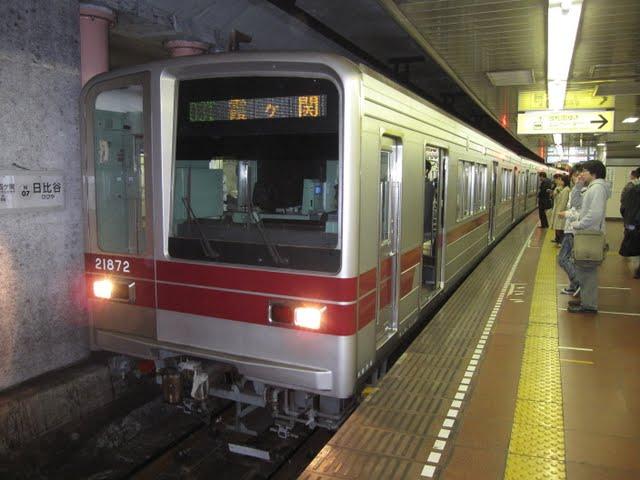 東京メトロ日比谷線 霞ケ関行き3 東武20000系幕式(平日1本運行)