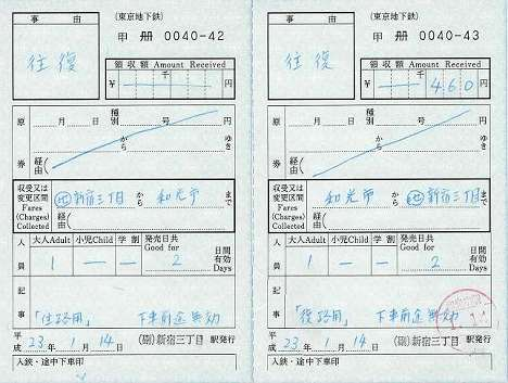 東京メトロ 出札補充券 往復乗車券 新宿三丁目駅