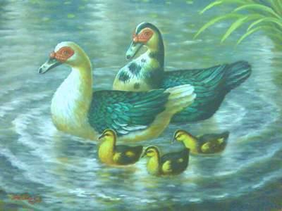 ... karena yang ditampilkan di sini yaitu lukisan kelinci lukisan bebek
