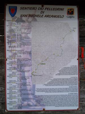 Mappa del Sentiero dei Pellegrini di San Michele Arcangelo