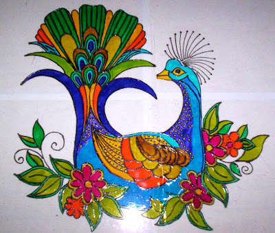 Peacock designs for glass painting - photo#11