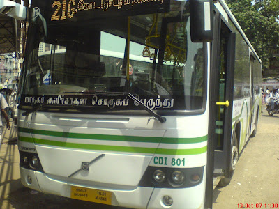 Chennai MTC Volvo city bus front view