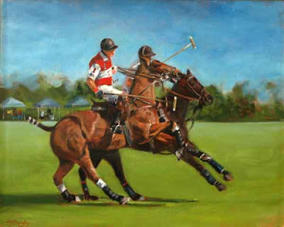 Painting of Palm Beach Polo, Lechuza Caracas