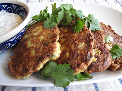 Golden Cauliflower Fritters with Herbed Yogurt Dip