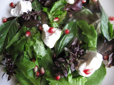 Basil, Goats Curd, and Pomegranate Salad