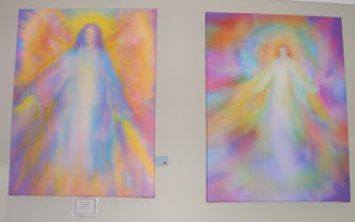 Angel paintings in the Healing Room at Sanctuary Angel Gallery and Healing Centre.