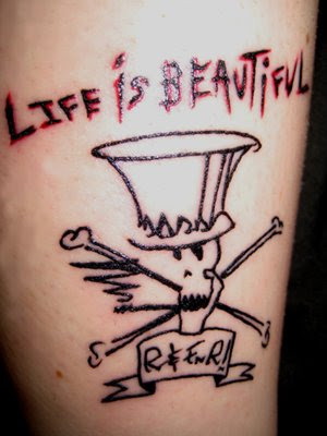 "The tattoo I got from Melrose Tattoo! ""Life is Beautiful"" is from a song by"