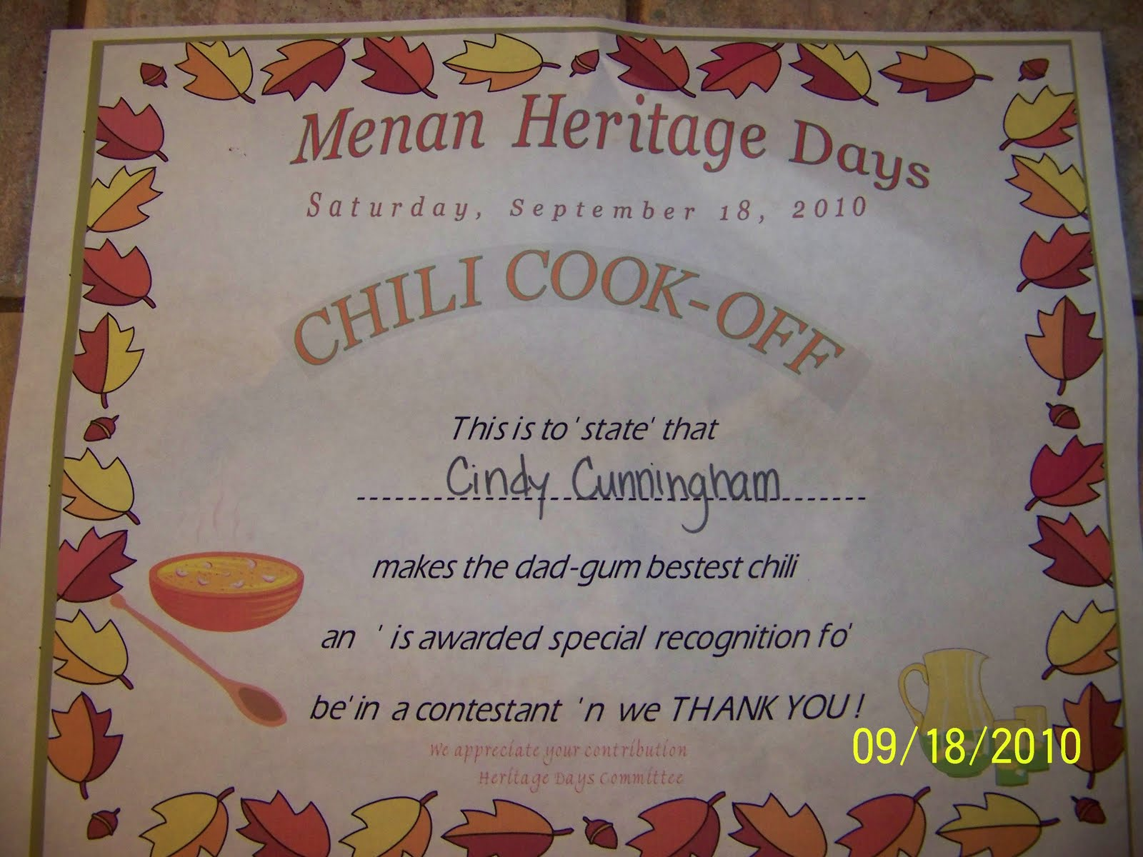 Casi chili cook off award certificate pictures to pin on for Chili cook off award certificate template