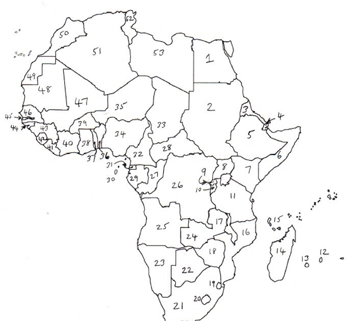 africa map numbered