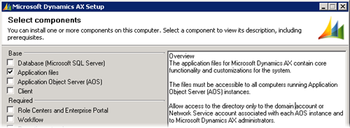 Dynamics AX 2009 Setup - Application files