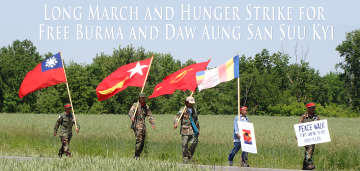 Long March and Hunger Strike for Free Burma and Daw Aung San Suu Kyi