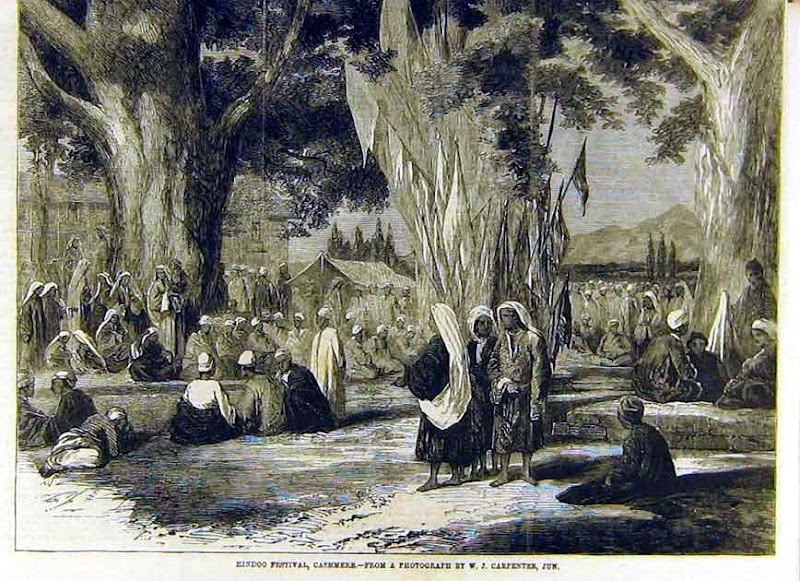 old image of kheer bhawani in kashmir