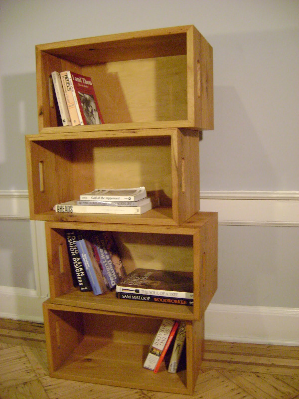 Milk Crate  As Book Shelf.