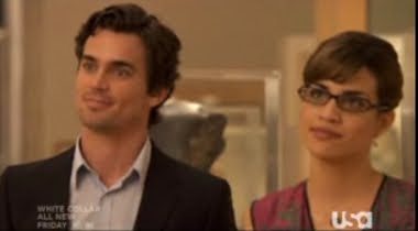 Neal Caffrey Matt Bomer Lauren Cruz Natalie Morales White Collar Flip of the Coin screencaps images photos pictures screengrabs capture glasses agent