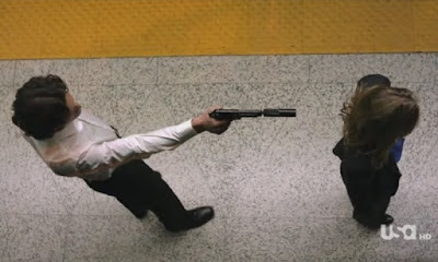 Covert Affairs Pilot episode screencaps Annie Walker Piper Perabo CIA agent images photos pictures screengrabs captures Stas George Tchortov Russian agent gun silencer