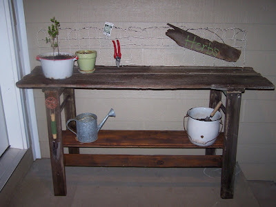 barn door potting bench http://bec4-beyondthepicketfence.blogspot.com/2008/05/project-number-four-made-from-and-old.html