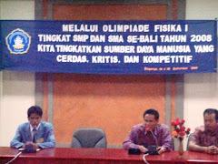 sambutan ketika pembukaan olimpiade fisika I se-Bali tahun 2008