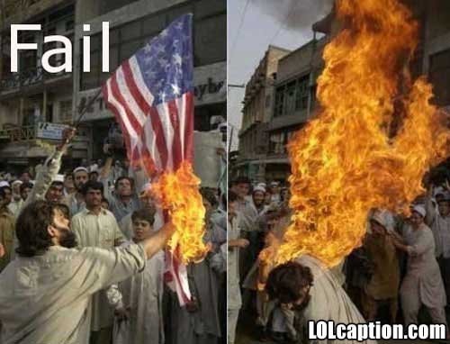 funny fail pics terrorist flag burning fail