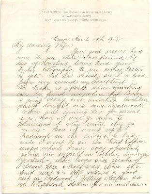 RUSH V:39:08.  Hugh Lenox Scott (1853-1934) ALS: Fort Meade, Dakota Territory, to Mary Merrill Scott, 29 March 1883.