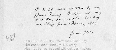 James Joyce. MS: Ulysses, Wandering Rocks episode, p. 32.  Paris [January-February 1919.]  EL4 .J89 922 MS