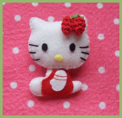 Broche Hello Kitty De Fieltro   Felt Hello Kitty Brooch