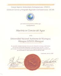 CERTIFICADO DE ACREDITACIÓN DEL PROGRAMA DE MAESTRÍA EN CIENCIAS DEL AGUA