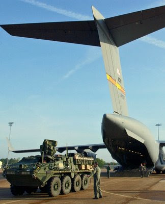 Stryker Armored Vehicle being loaded onto USAF C-17 - Click for larger image